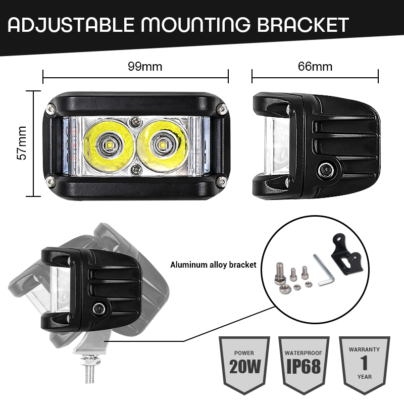 Image 4 - Work Light 20W Led Bar Side Flash Strobe Driving Fog Light for Offroad Truck Tractor SUV ATV Boat 4x4 Accessories rampe led Beam-in Light Bar/Work Light from Automobiles & Motorcycles