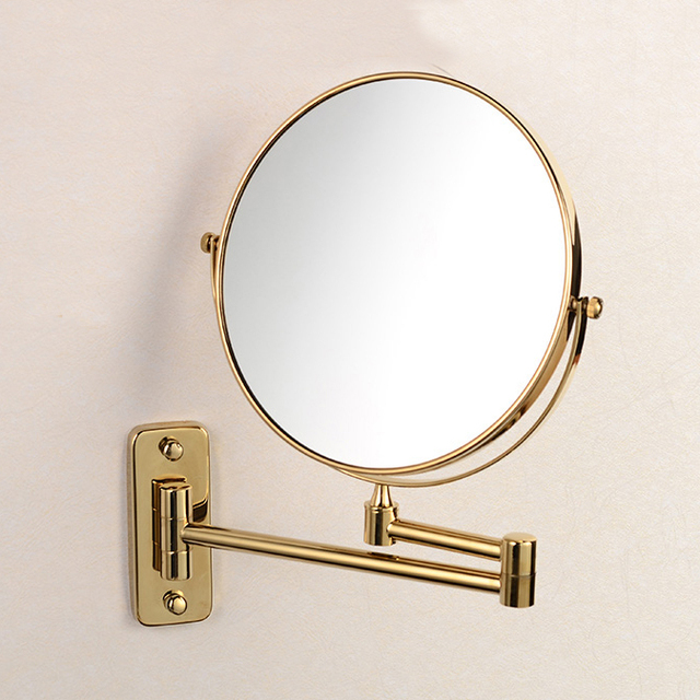 "8"" Double Side Bathroom Folding Brass Shave Makeup Mirror Golden Wall Mounted Extend with Arm Round Base 3x Magnifying 1208A"