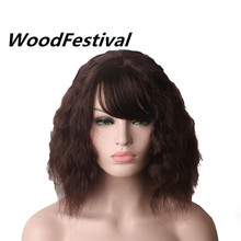 WoodFestival Synthetic Curly Wigs For Women Heat Resistant Fiber Cosplay Short Brown Wig With Bangs