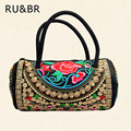 RU&BR National Wind Embroidered Bags Women Handbag Features Bucket Bag Casual Designer Canvas Shoulder Bag Flower Bolsa Feminina