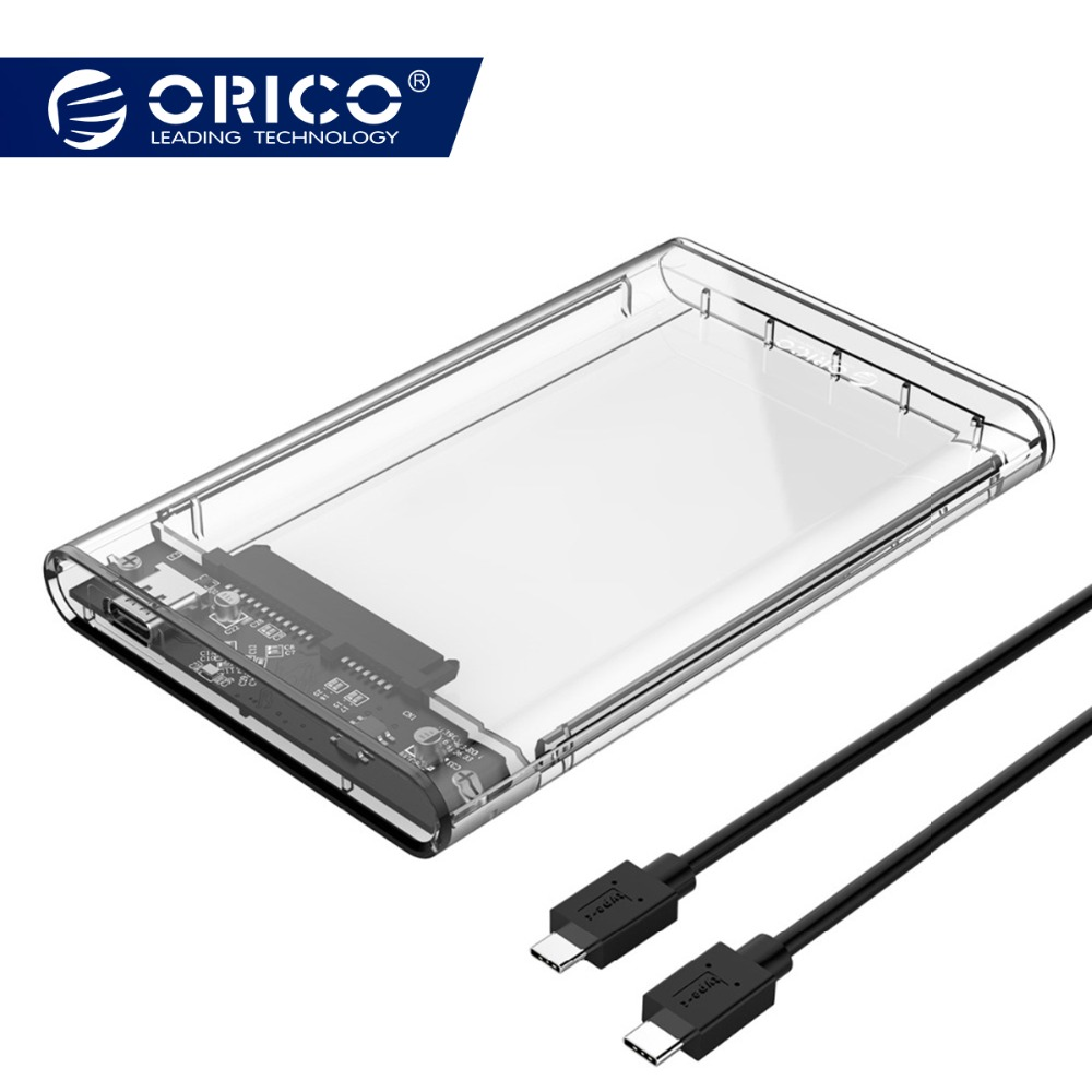 ORICO 2.5 HDD Caso SATA para USB 3.1 Gen2 Polegada Tipo C unidade de Disco Rígido HDD Externo Recinto Caso Transparente ferramenta Gratuita 4 TB 10 5gbps