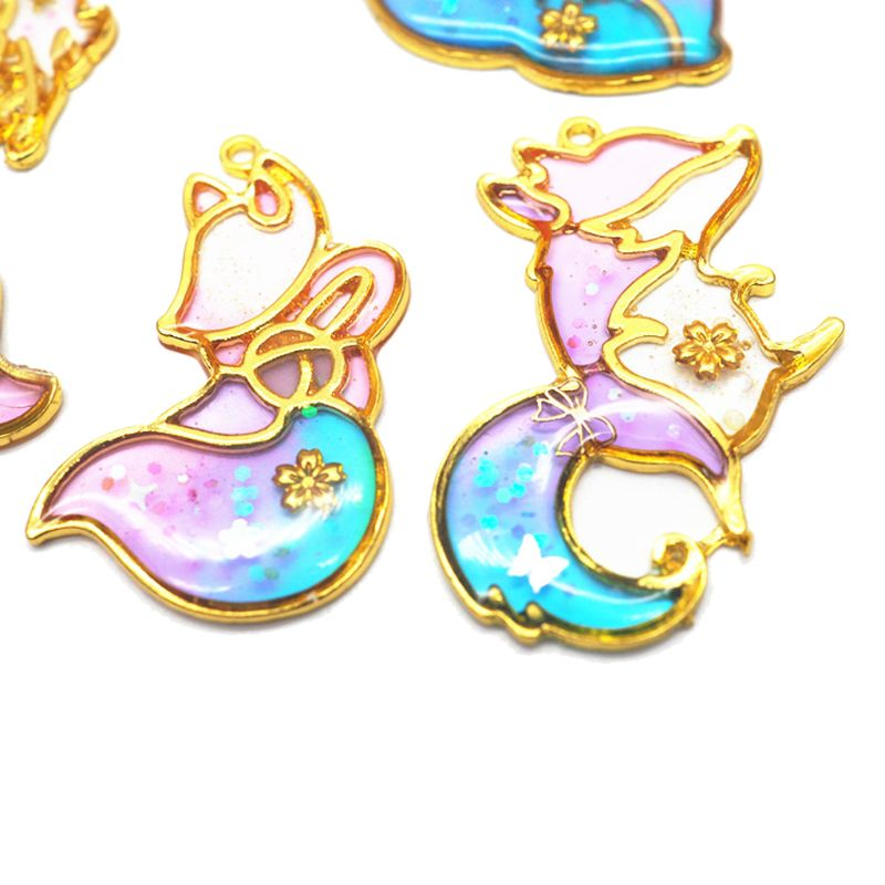 10Pcs Smart Fox Animal Pendant Open Bezel Setting UV Resin Craft Jewelry Making in Jewelry Findings Components from Jewelry Accessories