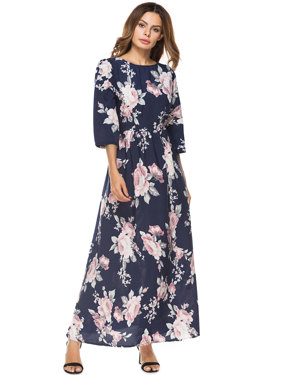 a0397490928 2019 2018 Summer Clothes For Women Print Midi Long Sleeve Middle ...
