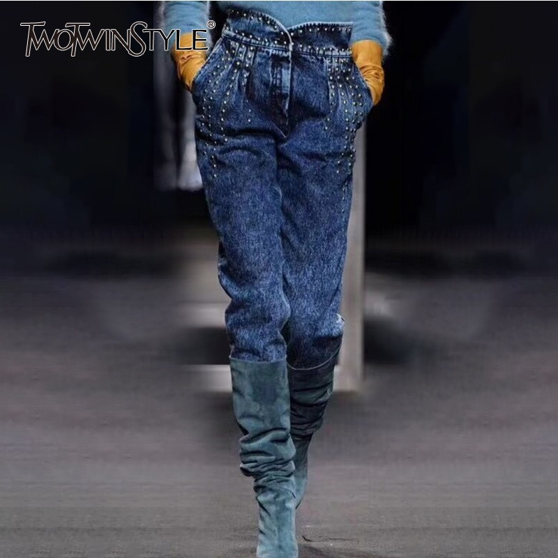 TWOTWINSTYLE Rivet Jeans Trousers For Women Ruffle High Waist Denim Pants Female Fashion Streetwear Tide 2018 Autumn Large Sizes