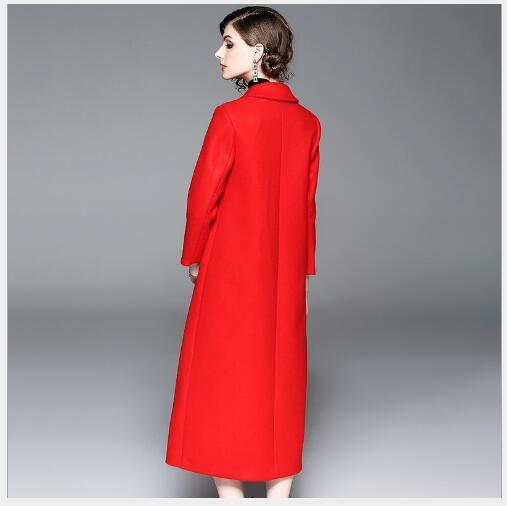 Laine Manteau Automne Femmes Le 2018 Section De Bas Pardessus red Broderie Vers Longue Veste Femelle Nouveau Chinois Tournent Blue Style Cachemire Solide Exnn5r