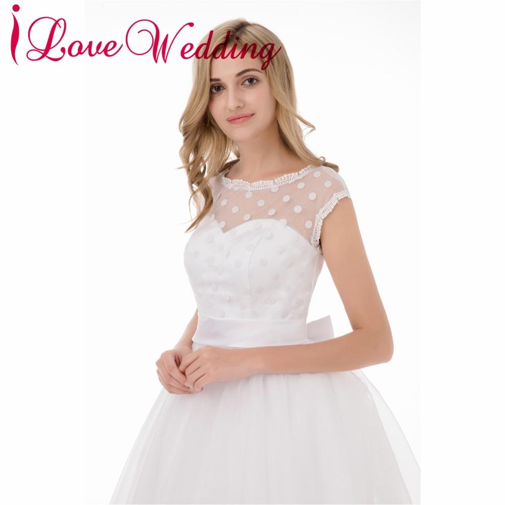 Hot Sale 1950s Retro Polka Dotted Short Wedding Dresses White ... 7e24c761a265