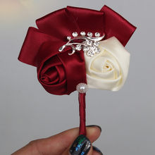 Best Man Groom Boutonniere Ivory Wine Red Satin Rose Flower Corsage Wedding Party Prom Man Suit Brooch Flowers de novia XH1317-5(China)