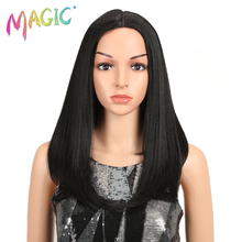 MAGIC Synthetic Lace Front Straight Wig Redish Grey Heat Resistant Fiber Middle Part Natural Daily Wig For Black/White Women