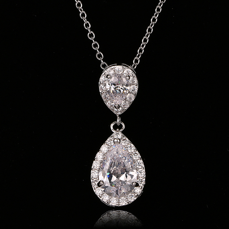 Emmaya New Hot sale Fashion Zircon Necklaces & Dazzling Double Water Drop Shaped Pendant Necklace For Women Wedding Party