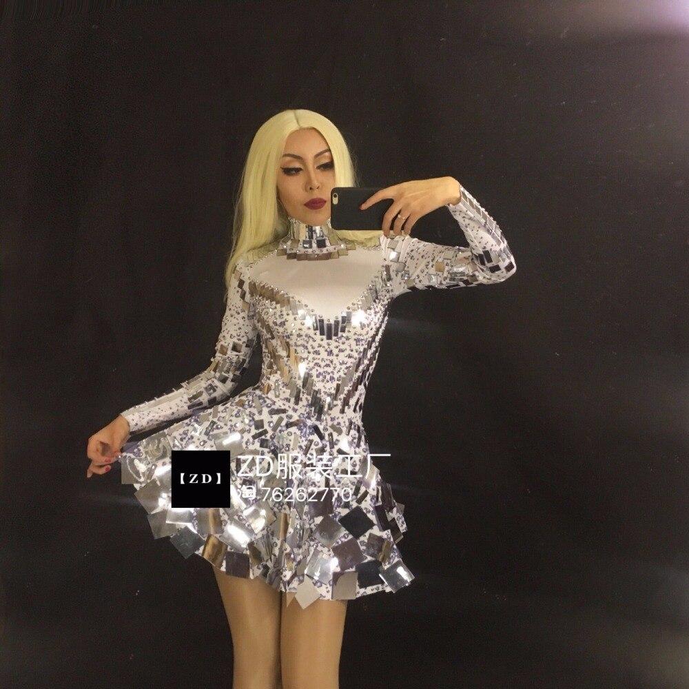 Partie Nouveau D'anniversaire Discothèque Danse Color Mousseux Flash Ultra Célébration Color Photo Chanteuse Costume Blanc photo Couleur Sexy Sequin De Robe O0OZ1qrwp