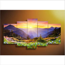 100% handpainted 5 piece modern abstract oil painting on canvas wall art beautiful landscape pictures for living room home decor