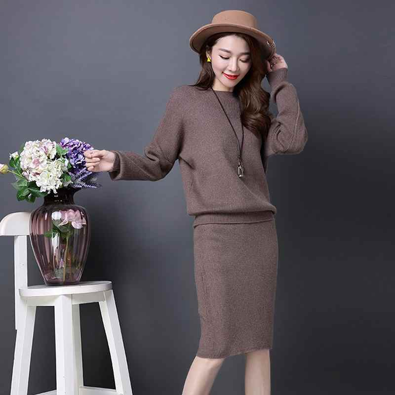 Two Piece Suit Autumn Winter Women Warm New Knitting Sweater Pencil Skirts Female Casual Pullovers Skirt Ladies 2 Piece Sets F43