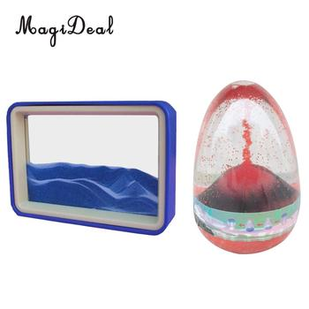 2 Pieces Floating Illusion Timer Hourglass Motion 3D Flowing Drawing Sand Glass Home Office Decor Novelty Gift Kids Child Toy