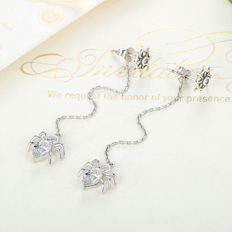 2017 New Design 925 Sterling Silver Long Drop Earrings Spider Crystal Earrings For Womens Compatible with pan jewelery