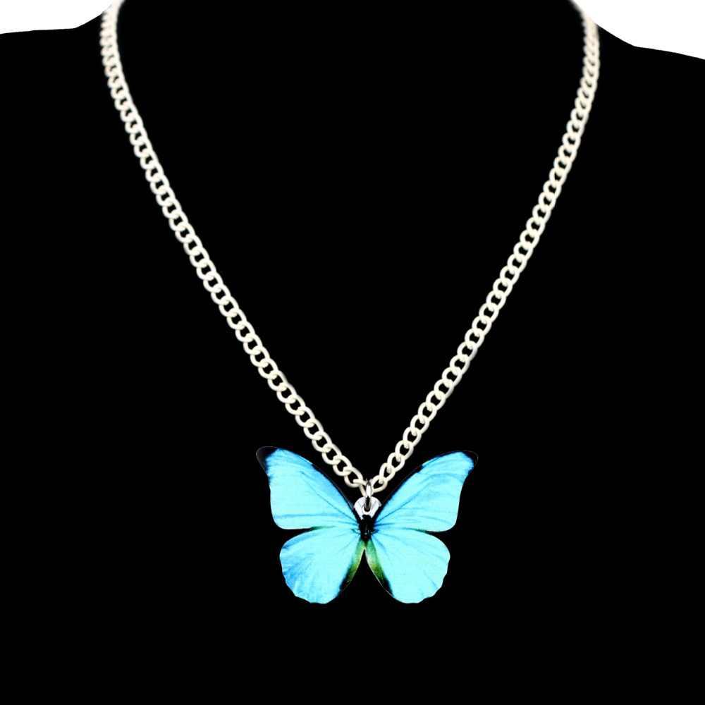 WEVENI アクリルビッグモルフォメネラオス蝶ネックレスペンダントチェーン昆虫ファッション女性少女ギフト卸売