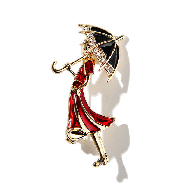 Retro Cartoon Red Lady Enamel Pins Brooches for Women Accessory Metal Gold Brooch Jewelry Luxury Hijab Pins and Brooches XZ4911