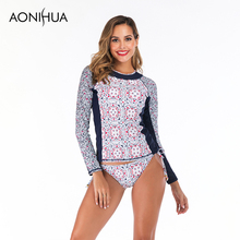 Aonihua Two Piece Bandage Swimsuit Printed Design Long Sleeve Female Separate Womens Swimming Suit S-2XL