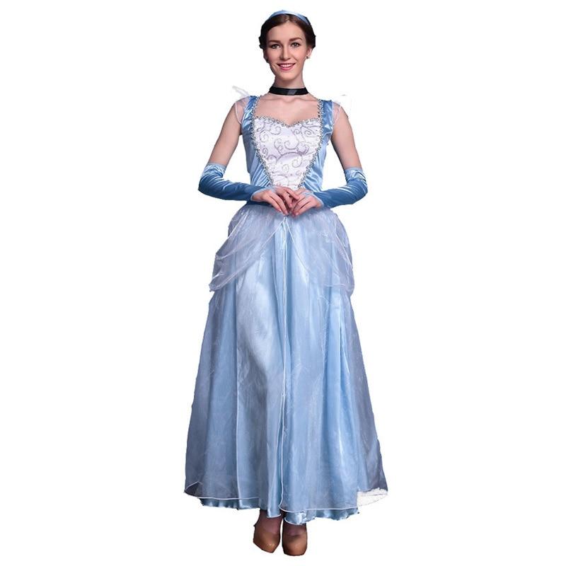 Halloween Costume for Women Elegant Blue Fairy Tale Princess Summer Dress Cosplay Alice in Wonderland Stage Dress Party Dress