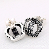 HOMOD Compatible With Pandora Jewelry Crown Wedding Earrings Original 925 Sterling Silver Earring DIY Wholesale