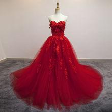 Rojo/Azul Vestido de Noche 2017 Romántico Apliques de Cariño Piso Formal Largo Sin Mangas Formal Vestido de Las Mujeres Embarazadas 971546