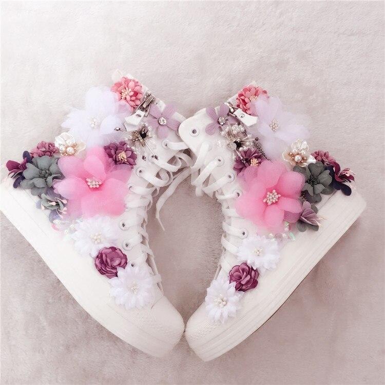 Bottines à fleurs colorées en toile blanche bottes de moto femmes chaussures à plate-forme pour fille dame