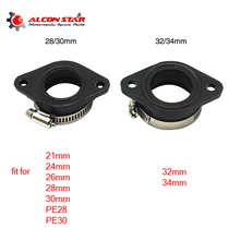 Alconstar- Rubber Motorcycle Carburetor Adapter Inlet Intake Pipe Dirt Bike For MIKUNI OKO KOSO KEIHIN 28 30 32 34 PE28mm PE30mm alconstar keihin koso oko motorcycle carburetor carburador 28 30 32 34mm with power jet for atv off road dirt pit bike racing