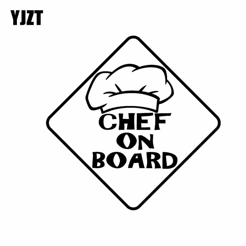 YJZT 10.2CM*10.2CM Decal Car CHEF ON BOARD Sticker Vinyl Funny Black/Silver C10-00551