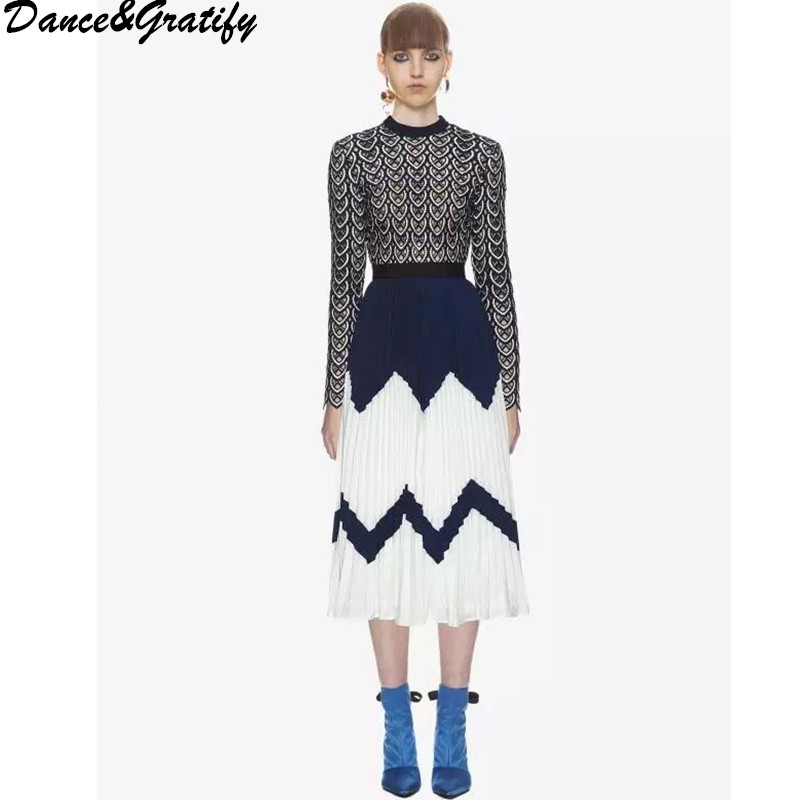 New Autumn High Quality Women Lace Patchwork Beach Pleated Dresses Hollow Out Long Sleeve Midi Chic Party Dress