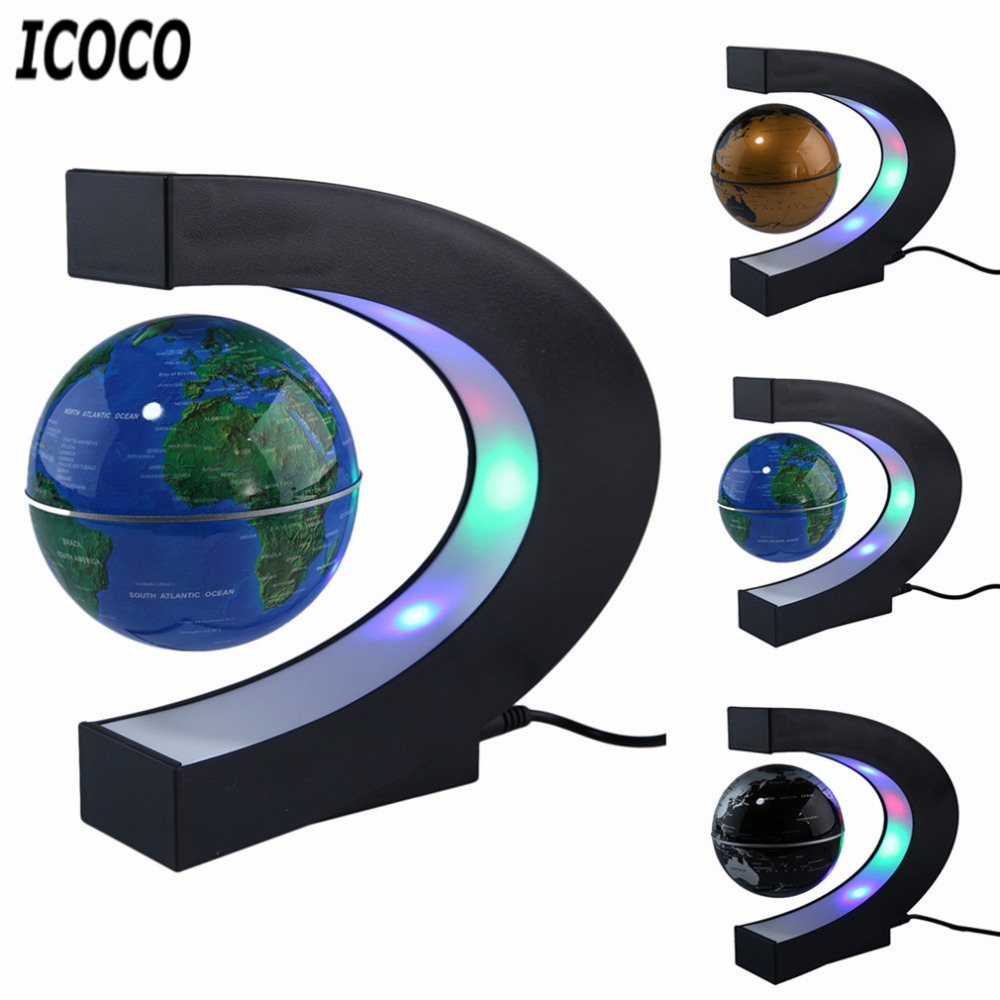 ICOCO LED World Map Magnetic Levitation Floating Globe Home Electronic Antigravity Lamp Novelty Ball Light Birthday Decoration