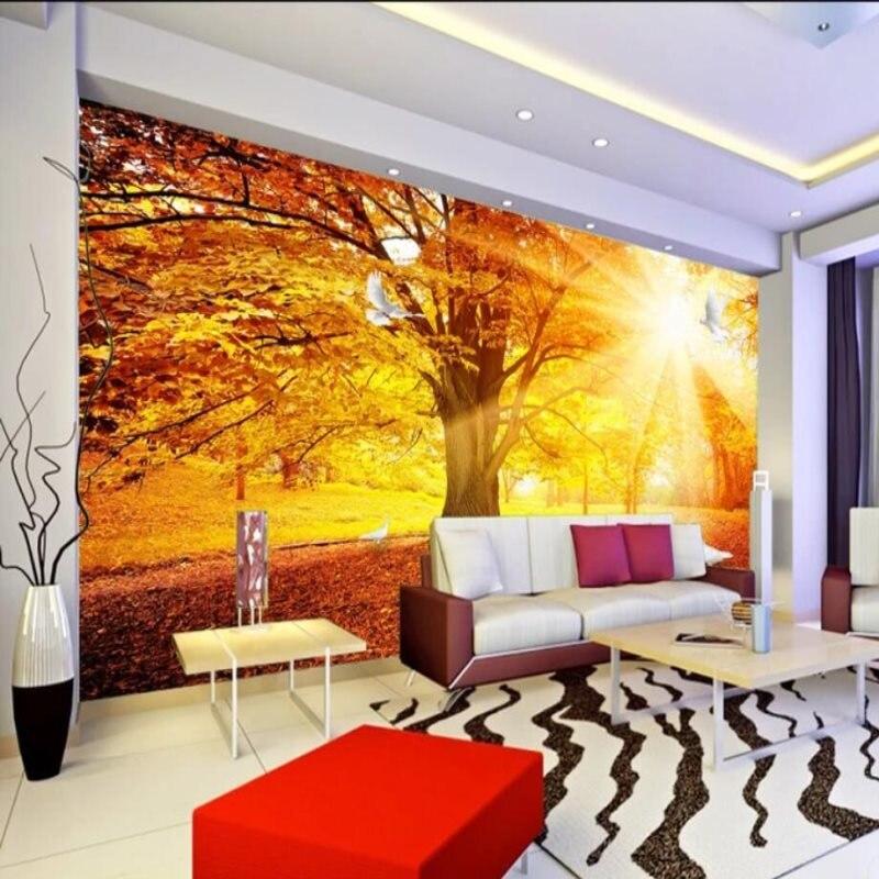 Personnalisé 3d papier peint or plancher doré lumière du soleil mur papier canapé salon salle à manger chambre tv décoration murale