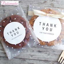 PATIMATE 100/60pcs Transparent Plastic Bag Candy Cookie Gifts Frosted OPP Birthday Party Packaging Pouch Gift Box