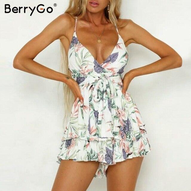 BerryGo kobiety pajacyki Sexy v neck drukuj boho romper playsuit romper Backless tie up krótkie kombinezon wzburzyć letnie kostiumy plażowe