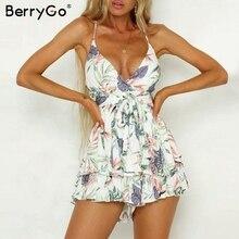 BerryGo women rompers Sexy v neck print boho romper playsuit romper Backless tie up short jumpsuit