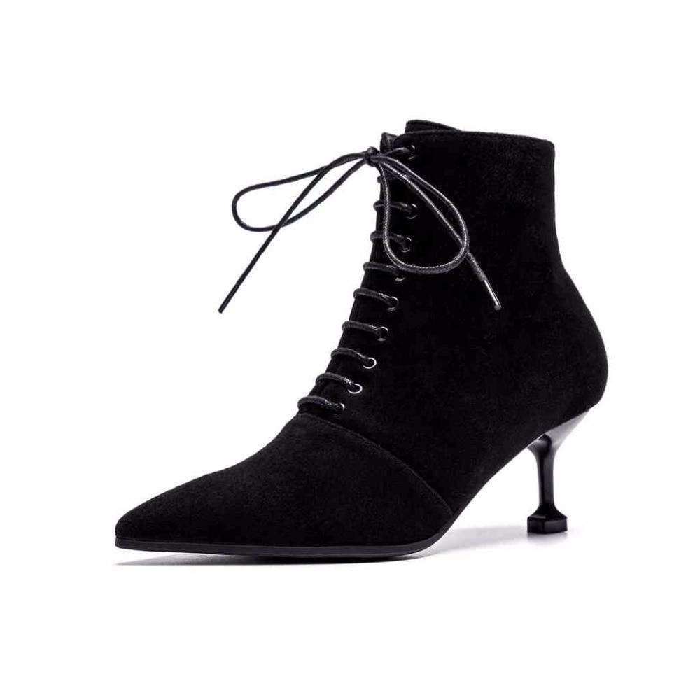 L68 Pointu Cuir Bout Suede Dentelle Talons Femmes Britannique Bottes Style Leather black Étranges Naural Mode En Haute Fée Cow Up Black Lenkisen Rétro Oxford Populaire XwHqCCY7