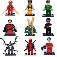 9pcs Marvel DC Super Heroes Venom Deadpool  Flash Loki Robin Shazan Building Blocks Toy Figure Lepin
