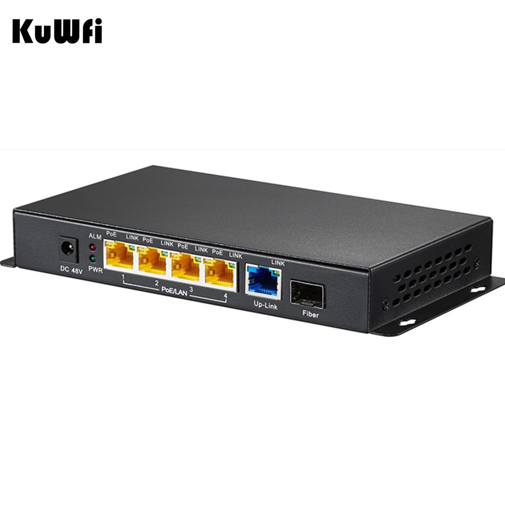 5 Ports 10/100/1000M Gigabit 48V PoE Switch with Gigabit SFP Fiber Injector for for Wireless Access Point/IP Camera/ IP Phone microtik ros 1u network router hardware with six 1000m 82574l gigabit nic two intel i350 sfp fiber ports no cpu 1g ram 4g slc
