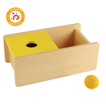 Montessori Kids Toy High-Quality Wood Imbucare Box w/ Knit BallPreschool Training