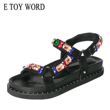 Buy E TOY WORD Sandals women 2019 platform summer shoes Black Fashion Rhinestone Sandals Hook & Loop thick sole woman sandals directly from merchant!
