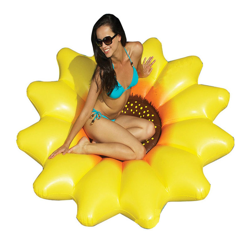 190cm Yellow Sun Flower Inflatable Pool Float Giant Swim Toy For Women Water Huge Adult Beach Lounger Mattress Floating Raft Row giant pool float shells inflatable in water floating row pearl ball scallop aqua loungers floating air mattress donuts swim ring