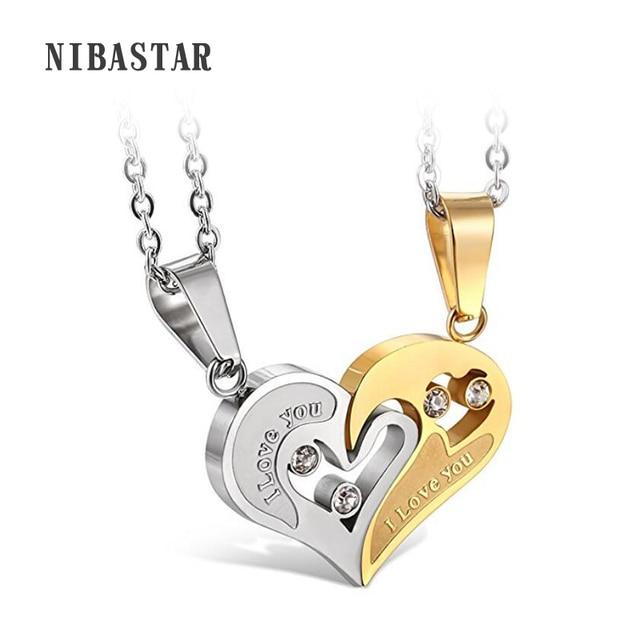 845ccfaf80 316L Stainless Steel Mens Womens Couple Necklace Friendship Puzzle CZ Love  Matching Heart Pendants