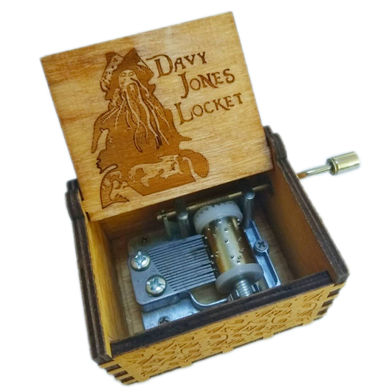 Pirates of The Caribbean Dead Man's Chest Davy Jones Locket Music Box Wooden Music Box Wooden Hand Crank Hand-Crafted Birch
