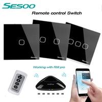 SESOO EU UK Standard 1 2 3 Gang 220V Wireless Remote Control Light Switches RF433 Remote