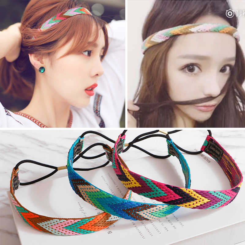 M MISM Ethnic Boho Embroidery Headbands For Girls Women Vintage Hair Accessories Braid Elastic Hairband Bohemian Rubber Headband