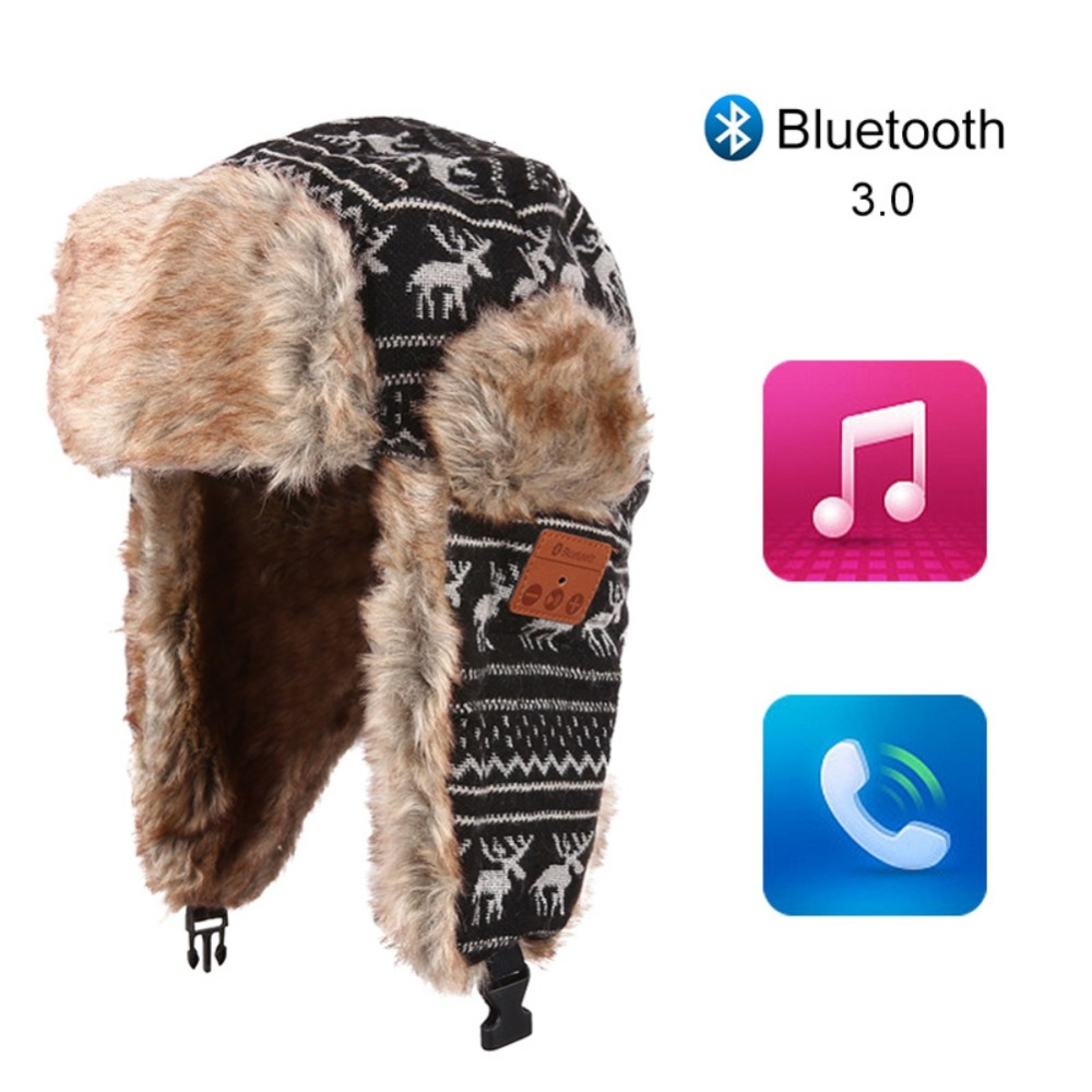 EDAL Bluetooth Winter Warm 3.0 Hat Thicken Faux Fur Beanie Christmas Deer Hat Wireless Headset Smart Cap Outdoor Soft Cap men s winter warm black full face cover three holes mask cap beanie hat 4vqb