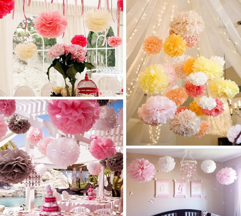24 Colors available Tissue paper pompoms garland holiday