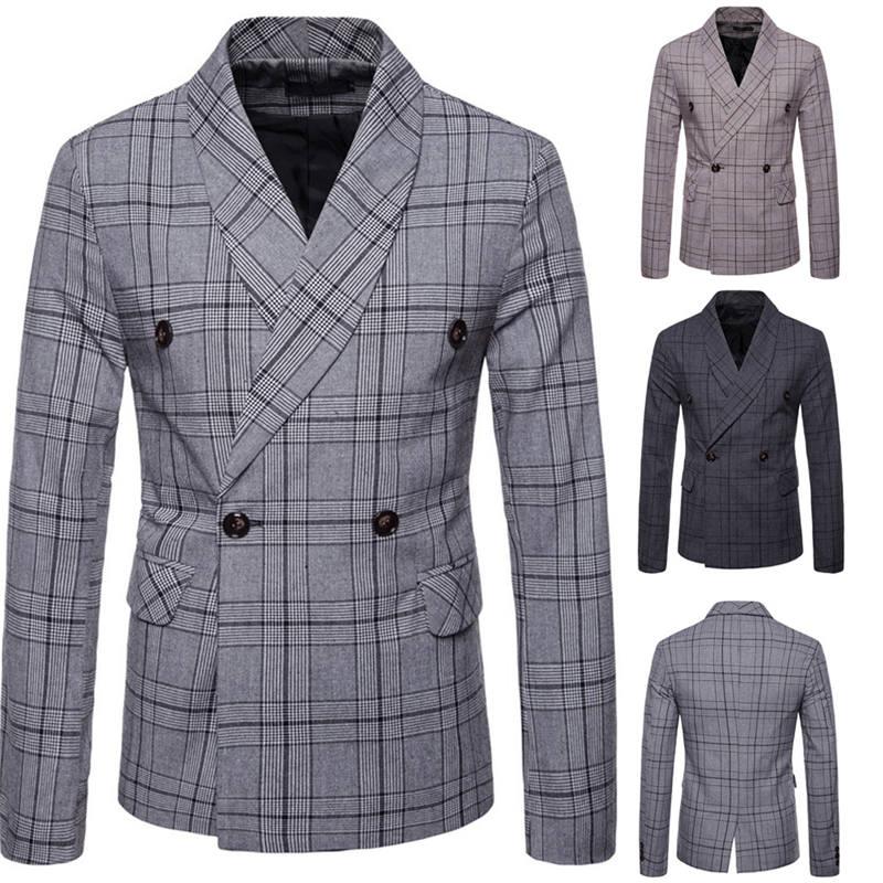 Men`s New Fashionable Checked Double-Breasted Suit Jacket Button Lattice Coat Casual Suit Jacket Men Slim Male Suit L15# (1)