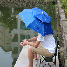 Outdoor Large Double Layer Fishing Umbrella Hat Cycling Hiking Camping Beach Sunshade Sunny Rainy Anti-UV Cap For Men Women Kids