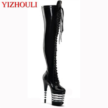 17-20cm Sexy High Heels Boots Women Pointed Toe Long Boots Knee High Lace-Up Autumn High Dance Shoes