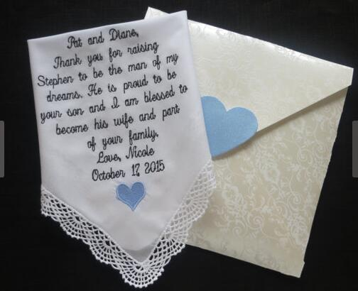 Wedding Handkerchief for mother of the bride, mother of the groom,  personalize monogram, custom hankies,embroidered hanky,