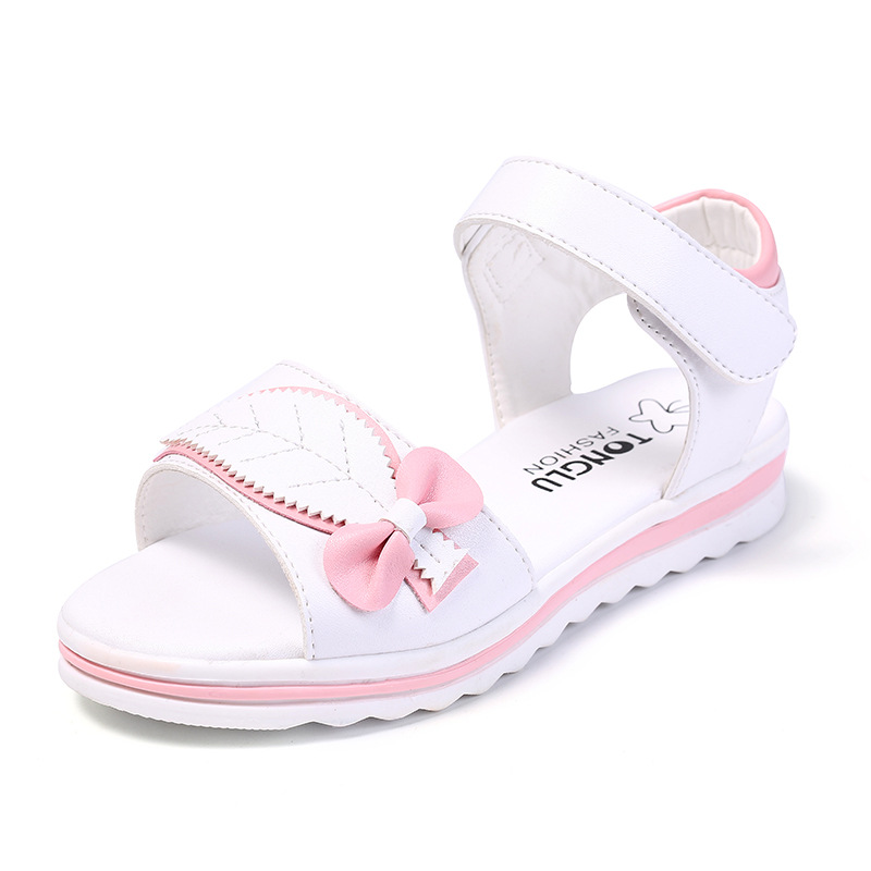 Kids Sandals For Girls Summer Shoes Open toe Bow leaf Girls Sandals Beach Flat Shoes For School Female Leather Sandals KS262 Sandals     - title=